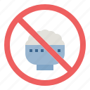 banned, carbohydrate, forbidden, no, prohibited, rice icon