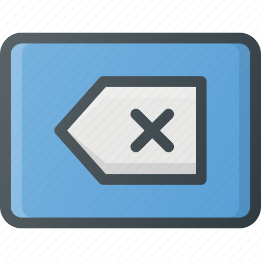 backspace, keyboard, type icon