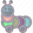 caterpillar, kid, play, toy icon