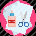 kindergarden, glue, scissors, paper