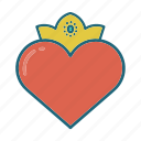 crown, heart, hearts, king, love, queen, valentines icon