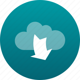 arrow, cloud, down, download, downloading icon