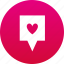 favorite, heart, map marker, marker icon