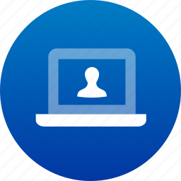 account, avatar, computer, device, human, laptop, notebook, people, person, user icon