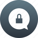 bubble, chat, comment, lock, locking, message, messaging, padlock, speech, talk, talking, text icon