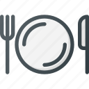 cutlery, eat, food, kitchen, knife, plate, set icon