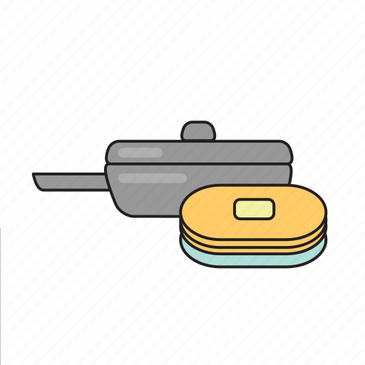 breakfast, cooking, dishes, food, kitchen, pan, pancakes icon