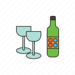 alcohol, bottle, dishes, drink, glass, glasses, wine icon