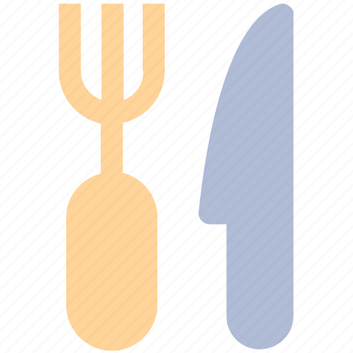 dinner, eating, fork, fork and knife, kitchen tool, knife icon