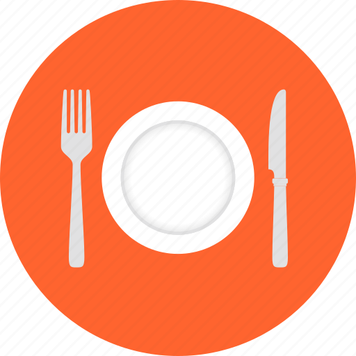 cooking, cutlery, dishware, food, fork, kitchenware, knife, lunch, plate, restaurant, serve, service, serving, utensil icon