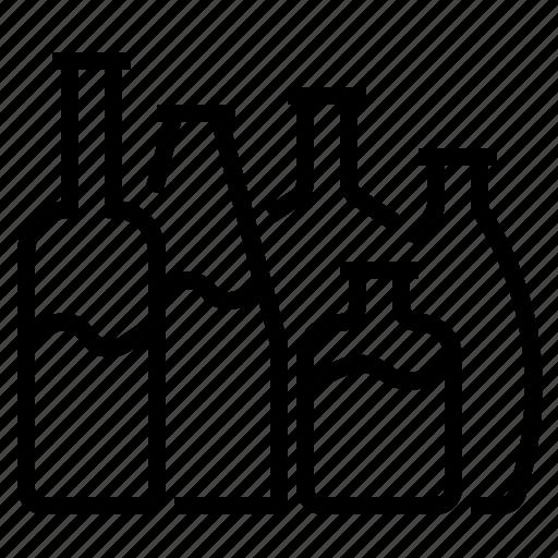 alcohol, beer, bottles, restaurant, water, wine icon
