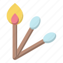 danger, fire, flame, match stick, matchbox, wood icon