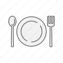 dish, food, fork, meal, plate, restaurant, spoon