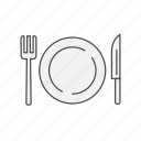 dinner, dish, fork, knife, meal, plate, restaurant