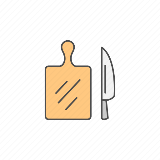 board, cutting, kitchen, knife, vegetables, wood icon
