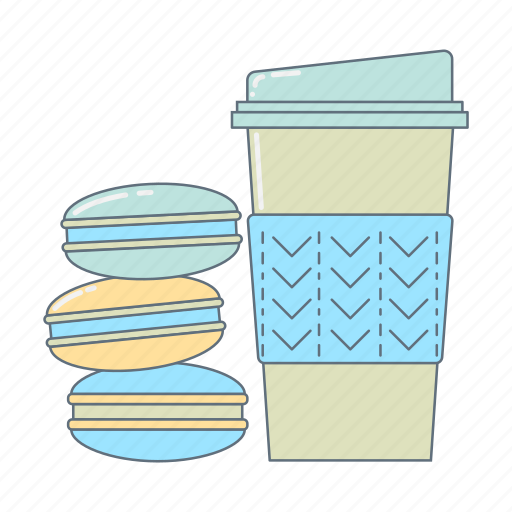 breakfast, coffee, hot drink, macarons, morning, sweet icon