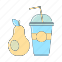 drink, fresh, healthy food, meal, pear, shake, smothie icon