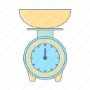 cook, kitchen, kitchen appliances, kitchen scales, kitchenware, scales icon