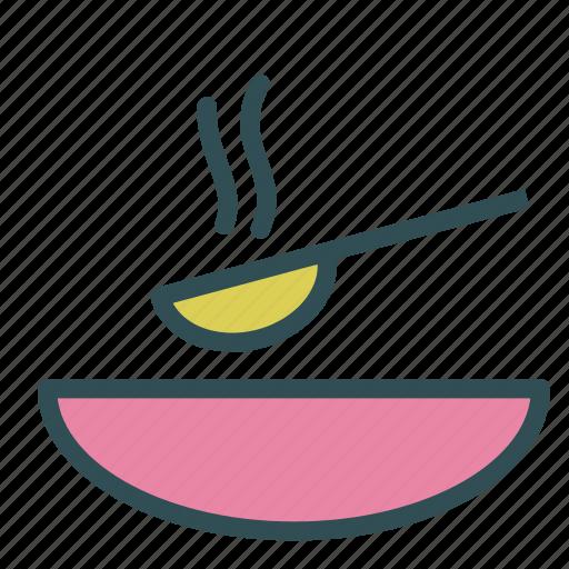 bowl, hot, soup, spoon icon