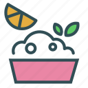 bowl, food, herb, lemon icon