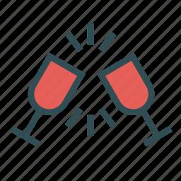 cheers, glass, salute, toast, wine icon