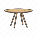 bench, dinner table, furniture, household, kitchen, round table, table icon