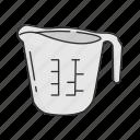 baking measuring, cup, kitchen, measuring cup, measuring jug, mug icon