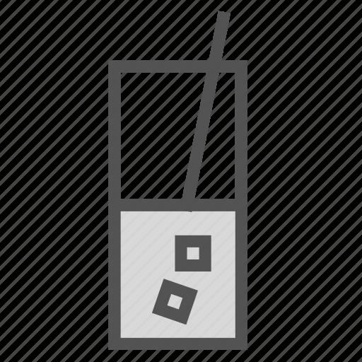 drink, glass, ice, straw icon