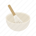 bowl, container, food, food bowl, kitchen, utensil, whisk icon