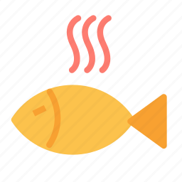 cooked, dish, fish, food, hot icon