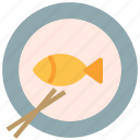 asian, chopstick, dish, fish, plate icon