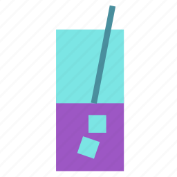 drink, glass, ice, straw icon