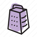 cheese, cooking, food, grater, kitchen, prep icon