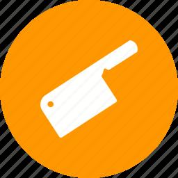 board, cleaver, kitchen, knife, meat, steel, wooden icon