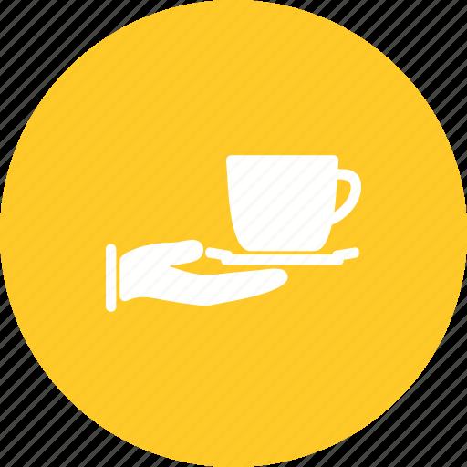cup, restaurant, serving, tea, teapot, tray, waiter icon