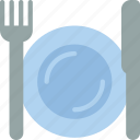 dinner, fork, kitchen, knife, meal, plates, setting icon