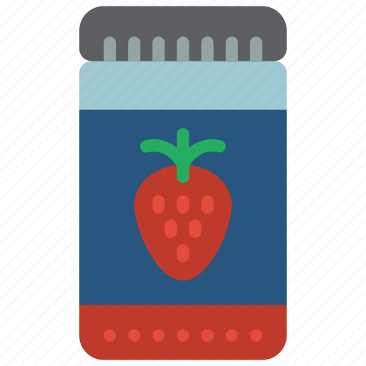 breakfast, food, jam, jar, kitchen, strawberry icon