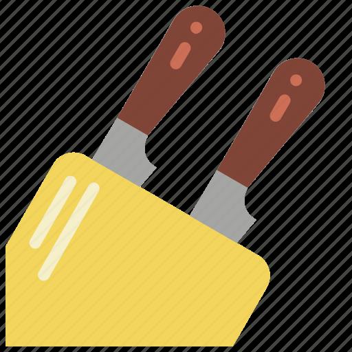 baking, block, cooking, kitchen, knife, utilities icon