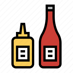 burger, condiments, food, ketchup, kitchen, mustard icon