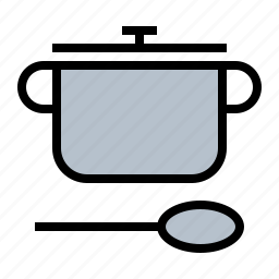 cooking pot, dutch oven, food, kitchen, pot, spoon icon