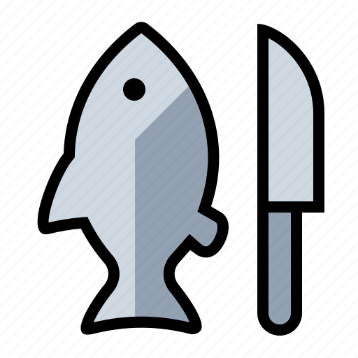 cook, fish, food, kitchen, knife icon