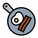 bacon, breakfast, eggs, food, frying, frying pan, kitchen icon