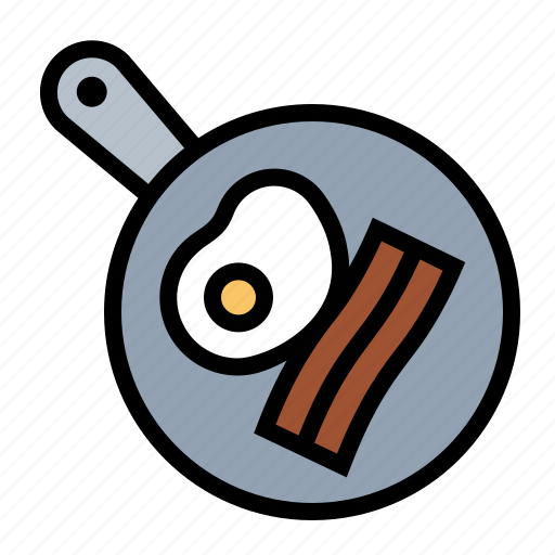 bacon, breakfast, eggs, food, frying, frying pan, kitchen icon