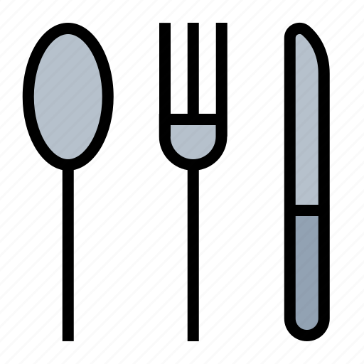 flat ware, food, fork, kitchen, knife, silverware, spoon icon