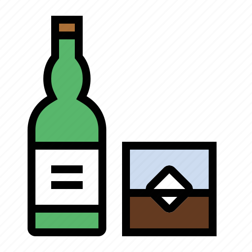 alcohol, booze, bottle, drink, food, glass, whisky icon