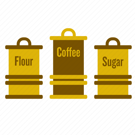 coffee, flour, kitchen, kitchenware, pot, retro, sugar icon