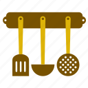 kitchen, kitchenware, ladle, slotted, spoon, turning spatula, utensil icon