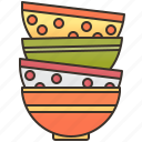 bowl, colorful, dishware, soup, stack icon