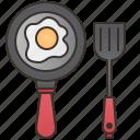 cooking, egg, frying, pan, spatula