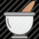 grind, mortar, pestle, pound, seasoning icon